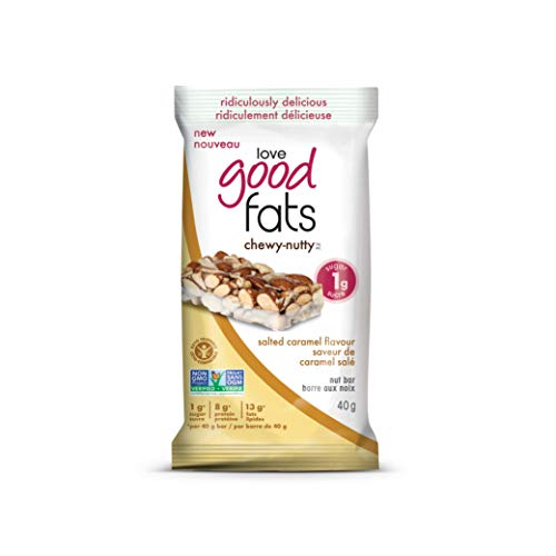 Love Good Fats Chewy Nutty Salted Caramel Bars, Count-12, 480 g