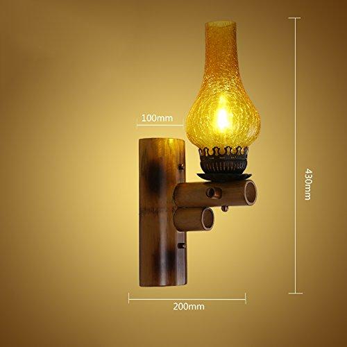 ZWL Rétro lampe murale en bambou, décorateur de salle de séjour Éclairage de salon Lampes d'escalier Lampes décoratives d'ingénierie Lampes E27 Creative Bamboo mode (taille : 20 * 43CM)