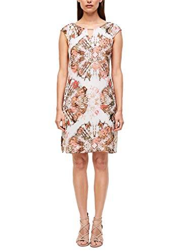 s.Oliver BLACK LABEL Damen Kleid mit Schmuck-Detail White Batik Print 44