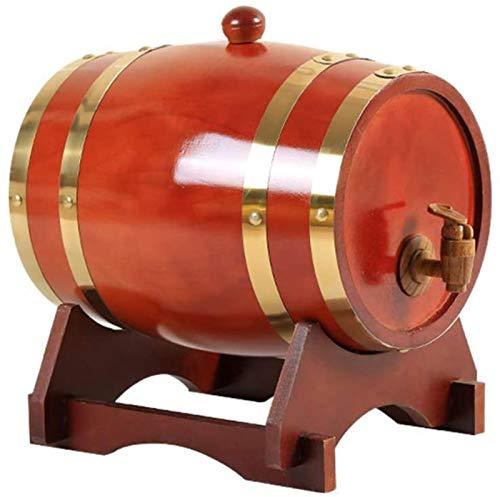 GJNVBDZSF Barriles de envejecimiento de Roble Dispensador de Barril de Whisky Cubo de Vino Decantador de Whisky con Soporte de Madera y Grifo para almacenar Vino, licores, Cerveza y Licor (3L), B