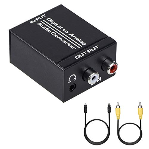 Anber-Tech Digital to Analog Audio Converter, Optical SPDIF Toslink Coaxial to Analog Stereo L/R and 3.5mm Jack DAC Converter with Optical &Coaxial Cable and Power Adapter for PS4 HDTV DVD Headphone