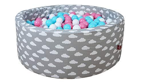 KNORRTOYS.COM Knorr Toys 68168 Soft-Grey White Clouds - Piscina de Bolas (300 Bolas), Color Rosa, Crema y Azul Claro