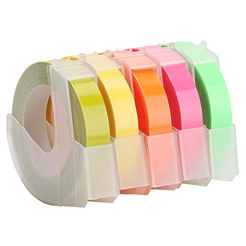 Demeras Nastro per goffratura 5PCS Nastro per Etichette per Stampante 3D Nastro per Etichette per Etichette di Ricambio Nastro da 9 mm 3 Metri(B)