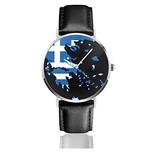 Griechenland Karte Mit Griechischer Flagge Schwarz Quarzwerk Edelstahl Lederband Uhren Lässige Mode Armbanduhren