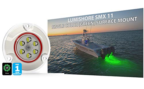Lumishore Smx11 Green Surface Mount, 60, 12V Only, Single Color Underwater LED Boat Light, 60-0156