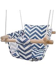 كرسي هزاز خشبي مبطن وامن للاطفال، مصنوع من قماش قطني، مناسب للتعليق داخل المنزل في غرفة الاطفال او في الهواء الطلق