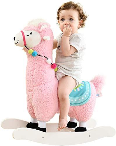 labebe Baby Rocking Horse - Pink Alpaca Baby Plush Rocker Toys, Plush Wooden Riding Horse for 1-3 Years Boy&Girl, Toddler Outdoor&Indooor Toy Rocker, Plush Animal Rocker, Infant Gift