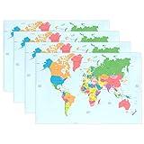 マキク(MAKIKU) 4枚セット ランチョンマット おしゃれ 北欧 プレースマット 滑り止め 大人 子供 家庭 レストラン用 マップ柄 世界地図 ブルー