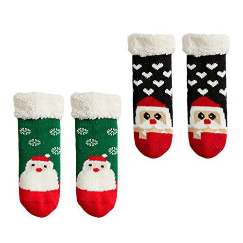 Tomaibaby 2 Pares de Calcetines de Invierno para Niños Calcetines de Felpa Navideña Calcetines Antideslizantes para Interiores Calcetines de Navidad para Niños Pequeños Calcetines Calientes