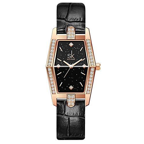 SK Plaza Reloje Mujere Correa de Malla de Acero Inoxidable Banda de Cuero Rectangular Relojes de Pulsera para Mujeres (Black-Leather)