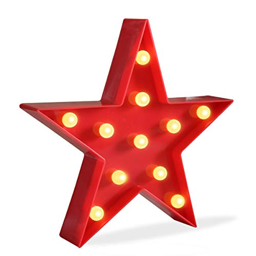 DELICORE Marquee Light Star Shaped LED Plastic Sign-Lighted Marquee Star Sign Wall D