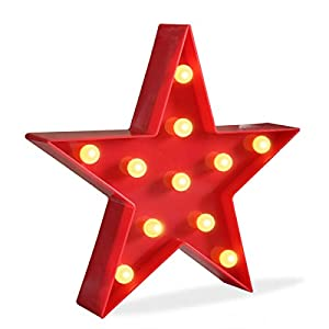 crib bedding and baby bedding delicore marquee light star shaped led plastic sign-lighted marquee star sign wall décor battery operated (red)