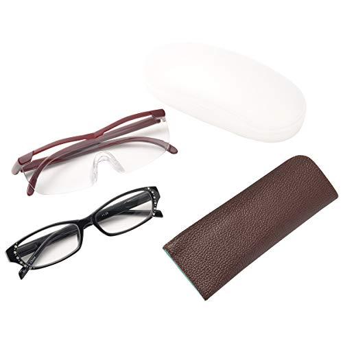 MIDI-ミディ メガネ型 ルーペ (拡大倍率 1.6倍) & 老眼鏡 (レンズ度数 +1.50) セット 老眼鏡とルーペを比べられる お手軽セット ワイン (lp001c2,m104c2,+1.50)