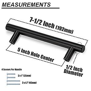 "Probrico Flat Black Modern Cabinet Hardware Cupboard Pull Kitchen Cabinet T Bar Handle Dresser Knobs Set - 5"" Hole Spacing - 10 Pack"