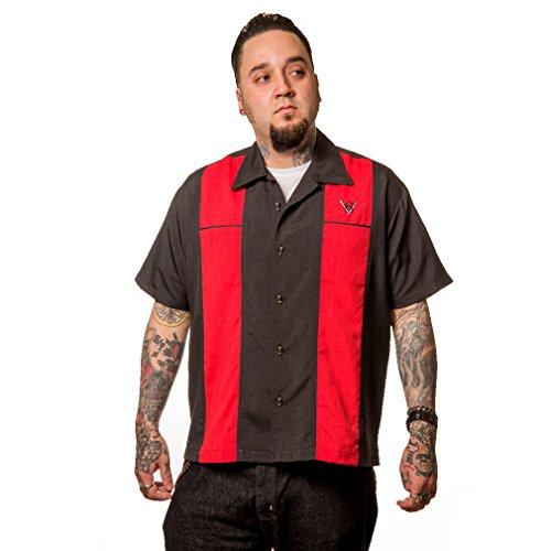 Steady Clothing Vintage Bowling Hemd V8 - Classy Piston Rot Retro Bowling Shirt (3XL)