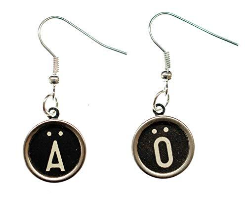 Choose An Umlaut Earrings Typewriter Keys Miniblings Ä Ö Ü Black Ö +?, 2nd Letter:OE