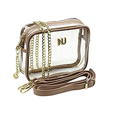 NU PVC, Clear Purse, Clear Bag Policy Approved Crossbody, Adjustable Vegan Leather + Chain Strap Purse (Tan)