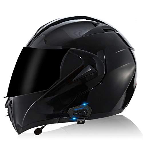 Casco Moto Bluetooth Integrado, Casco De Moto Modular,Cascos de Moto Scooter con Doble Anti Niebla Visera, Casco Integral ECE Homologado para Mujer e Hombre (Color:J,Size:M=57-58cm)