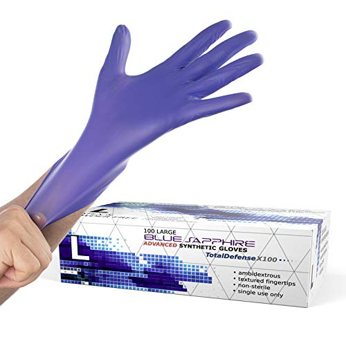 Powder Free Disposable Gloves Large - 100 Pack - Nitrex Material - Extra Strong, 4 Mil Thick - Latex Free, Food Safe, Blue - Medical Exam Gloves, Cleaning Gloves