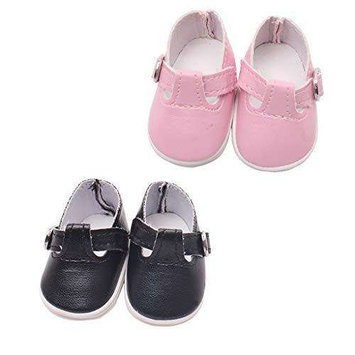 Toygogo 2 Paar Puppenschuhe Für Mel Chan Mellchan Babypuppe, Für 9 12 Zoll Reborn Puppe, Stylish Flats Sneakers, PU Leder, Schwarz & Pink