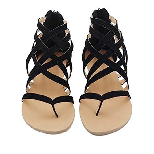 LXYYBFBD Sandalen Voor Vrouwen, Vrouwen Open teen Sandalen Zwart Zomer Cross Band Vrije tijd Beach Schoenen Rome Stijl Sandalias Vrouwen Flats Schoenen Voor Dames Plus Size