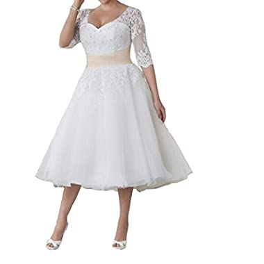 FashionStreets Formal Women Short Plus Size Lace Wedding Dresses for Bride (US 26W, White)