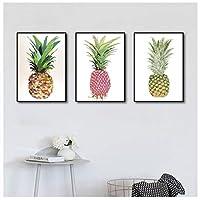 キャンバスに印刷水彩画アートパイナップル壁アートキャンバス絵画ポスターとプリントアート写真リビングルーム家の装飾60x80cmx3フレームなし