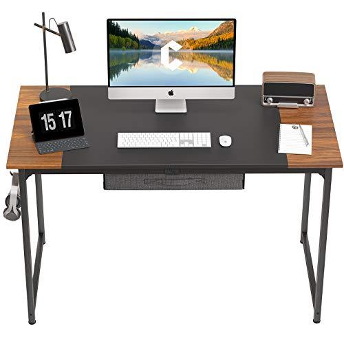 CubiCubi Escritorio de ordenador con cajón de 47 pulgadas para oficina en casa, escritorio de PC de estilo moderno y simple con tablero de empalme, marco de metal negro, negro y espresso