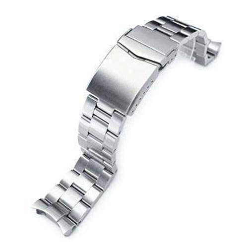 Strapcode 22mm Super 3D Oyster Watch Band for Seiko Diver SKX007/SKX009/SKX011, Brushed V-Clasp Button Double Lock