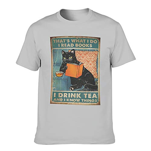 Camiseta de manga corta para hombre con diseño de gato negro y texto en alemán 'Ich lese Libros Trinke ich Tee Ich weiß Dinge Print Tribal Workwear Gris plateado. XXL