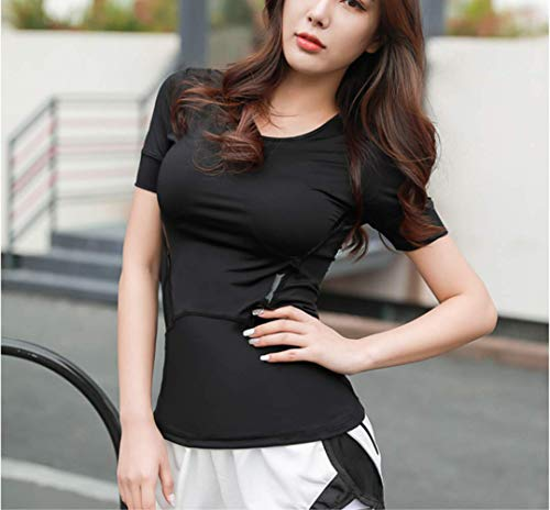 NoNo Dünnes Fitness-Shirt mit rundem Halsausschnitt Kurzärmeliges Damen-Laufshirt Schnelltrocknendes Yoga-Shirt mit halben Ärmeln Stretch Tight