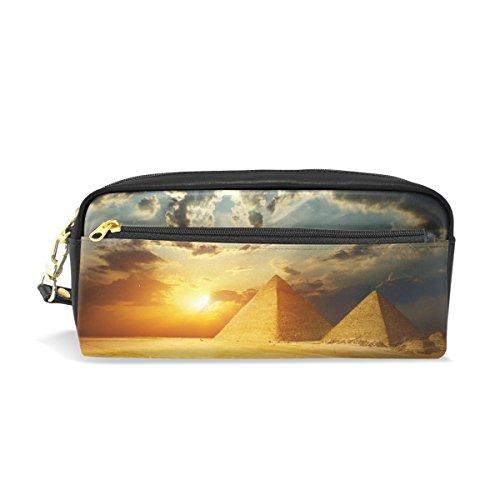 COOSUN Rallar Las pirámides en Giza Valle Egipto Cuero de la PU portátil Caja de lápiz de la Pluma de la Escuela Bolsas Bolsa de la Caja Fija de Gran Capacidad Maquillaje Bolsa de Cosméticos G
