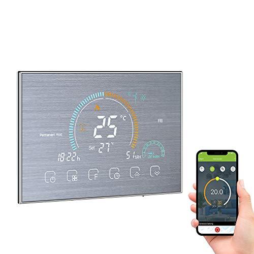 Galapara Smart Thermostat WiFi Temperaturregler, LCD Gaskessel-Heizungs-Thermoregulator mit UV Index Feuchtigkeitsanzeige Sperrfunktion Kompatibel mit Amazon Echo Google Home
