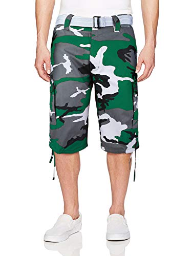 vkwear Men's Tactical Military Army Slim Fit Camo Cargo Shorts with Belt (42, Green Camo)