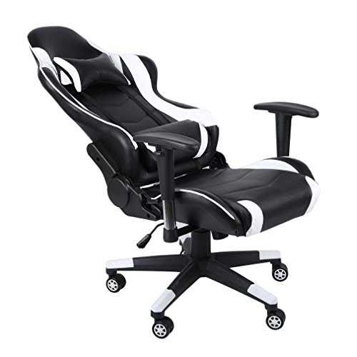 Blackpoolal XL Racing Stuhl Bürostuhl Gaming Ergonomisch Fernsehsessel Drehstuhl mit rollen Höhenverstellung Massagesessel Relaxsessel Leder Chefsessel Schreibtischstuhl Turbo Gamingstuhl 150kg (Weiß)
