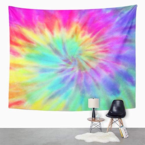 """Semtomn 50""""x 60"""" Tapestry Mandala Wall Hanging Blue Pastel Vibrant Summer Tie Dye Colorful Hippie Spiral Home Decor Tapestries Bedroom Living Room Dorm"""