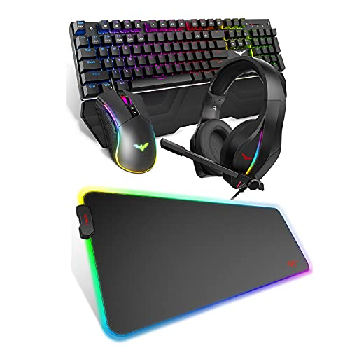 HAVIT Mechanical Keyboard Mouse Headset Kit Blue Switches and RGB Gaming Mouse Pad