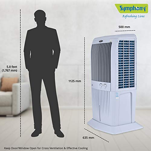 Symphony STORM 70 XL Desert Tower Air Cooler 70-litre with Multistage Air Purification, Powerful Fan, 3-Side Honeycomb Pads, Automatic Swing (Grey)