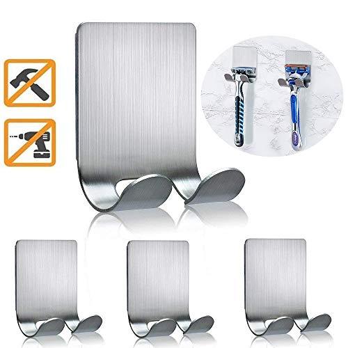 Razor Holder for Shower Razor Shaver Holder Waterproof Self Adhesive Hooks Wall Hanger Stainless Steel for Loofah Plugs Razors Brushes Towels, Robes- Bathroom Home Kitchen RV-4 Packs