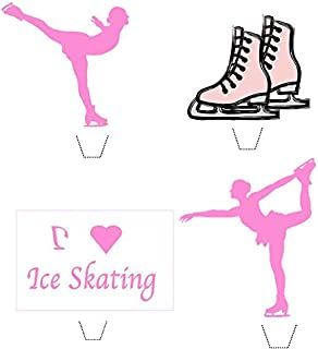 Novelty I Love Ice Skating Mix 12 Edible Stand up wafer paper cake toppers (5 - 10 BUSINESS DAYS DELIVERY FROM UK)