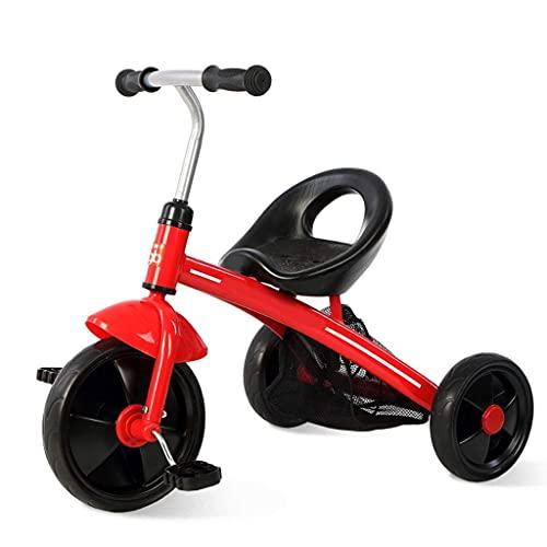 GST Triciclos Coches de Pedal Ligero Simple con Canasta de Almacenamiento de Malla Trasera, Bicicleta de Triciclo para niños con asa Antideslizante y Pedales Antideslizantes, Amarillo (Color : Red)