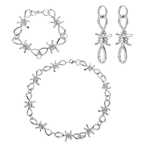 Manman Stacheldraht Brombeeren Rasierklinge Anhänger Halskette Armband Ohrringe Schmuck Set