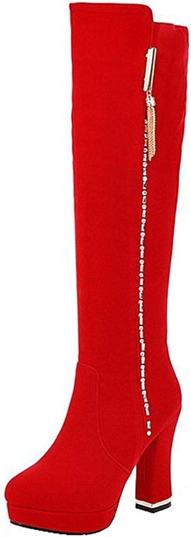 Ghapwe Women's Elegant Faux Suede Rhinestone Round Toe High Chunky Heel Platform Knee High Long Boots with Side Zipper Black 4 M US