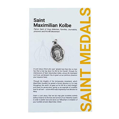 1' Saint and Holy Subject Medal with Prayer Card | Over 25 Different Saints | Durable and Detailed Charm | Pendant Medal Carded with Prayer | Christian Jewelry (St. Maximilian Kolbe)