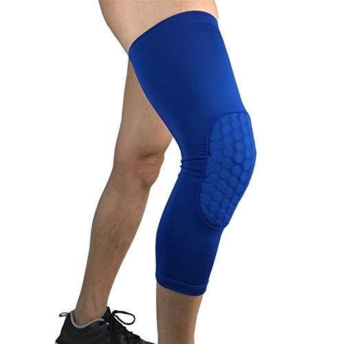 Kniebandage Atmungsaktive Sport Fußball Basketball Knieschützer Honeycomb Kniebandage Beinmanschette Wadenkompression Kniebandage Schutz (1 STÜCKE) Knee Active Plus (Color : Blue, Size : L)