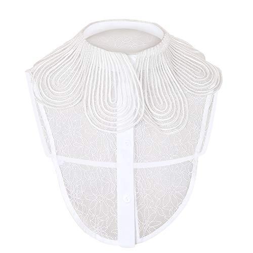 Joyci Big Petal Lapel Collar Women's Detachable Half Shirt Fake Choker Lace Peterpan Sweater False Collar White