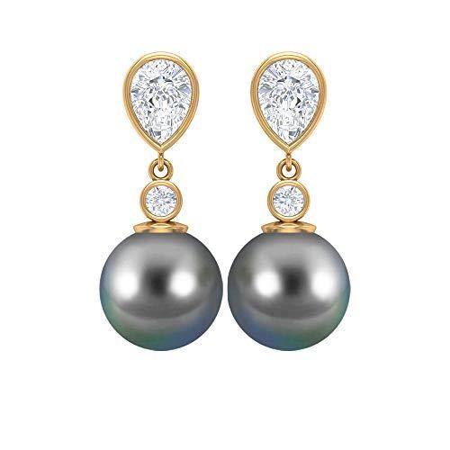 Pendientes de gota de perlas de Tahití de 15 CT, 10 mm, D-VSSI 1.6 CT, Moissanite Solitario, Pendientes en forma de pera, pendientes de boda, pendientes colgantes 18K Oro amarillo, Par