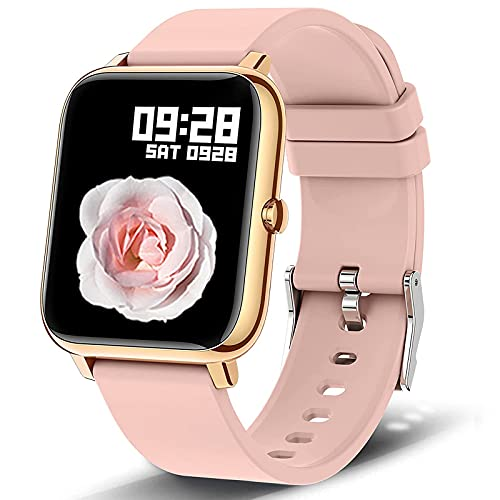 Smart Watch, Popglory 1.4 inch LCD Full Touch Screen Smartwatch with Blood Pressure, Blood Oxygen Monitor, Fitness Tracker with Heart Rate Monitor, Fitness Watch for Android & iOS for Men Women