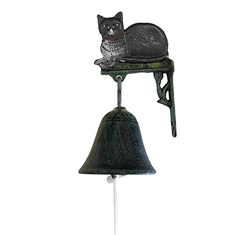 zeitzone Türglocke Schwarze Katze Glocke Gusseisen Rustikal Antik-Stil Grün