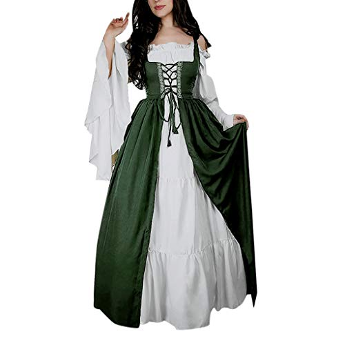 Centory Medieval Costume Women Plus Size, Women's Halloween Renaissance Cosplay Chemise and Over Dress Deep Green